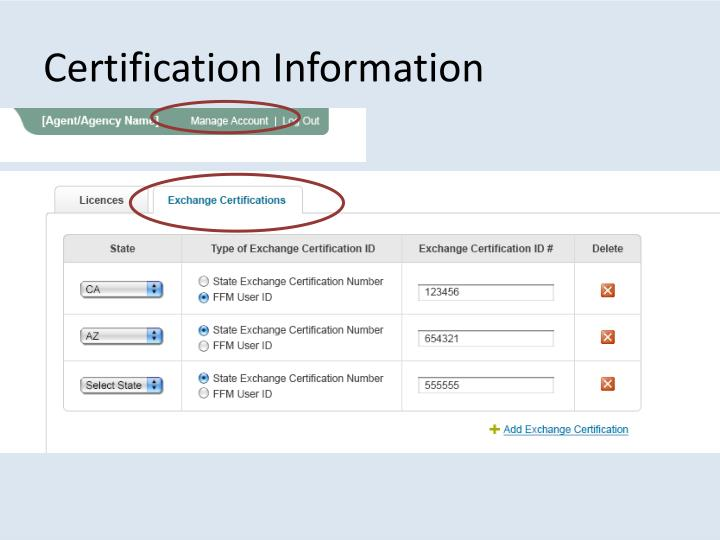 Certification Information