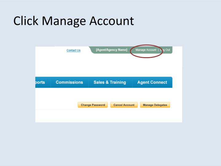 Click Manage Account