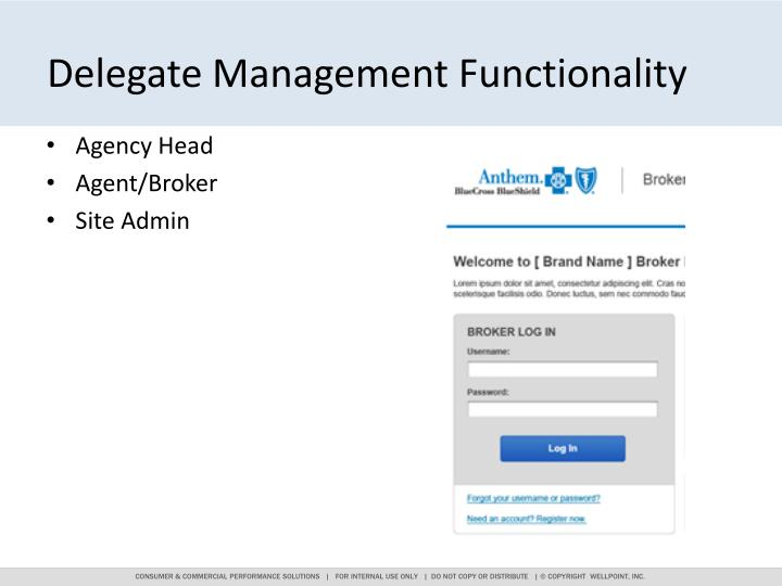 Delegate Management Functionality