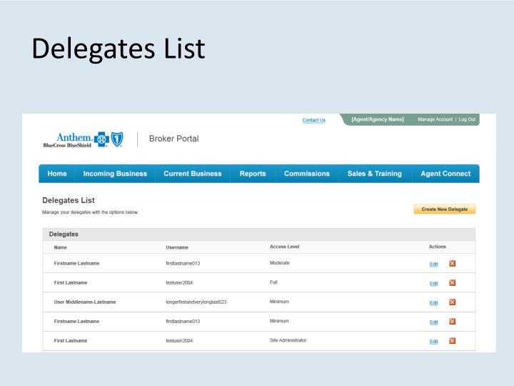 Delegates List