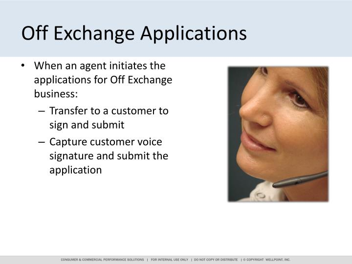 Off Exchange Applications