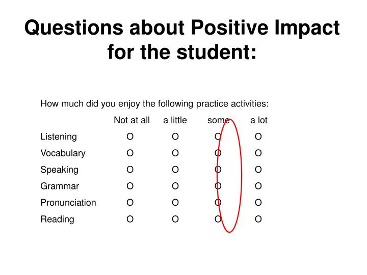 Questions about Positive Impact for the student: