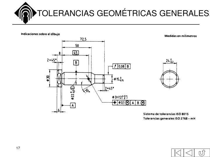 TOLERANCIAS GEOMÉTRICAS GENERALES.