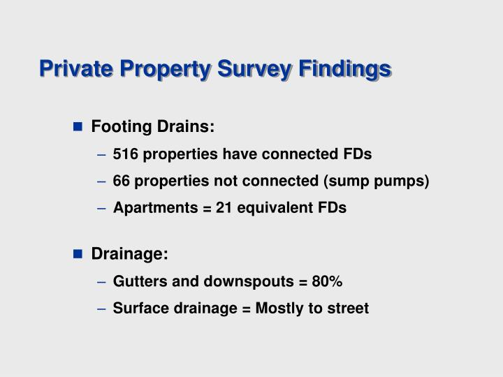 Private Property Survey Findings