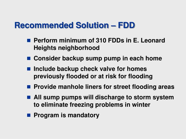 Recommended Solution – FDD