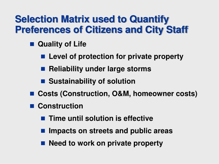 Selection Matrix used to Quantify Preferences of Citizens and City Staff