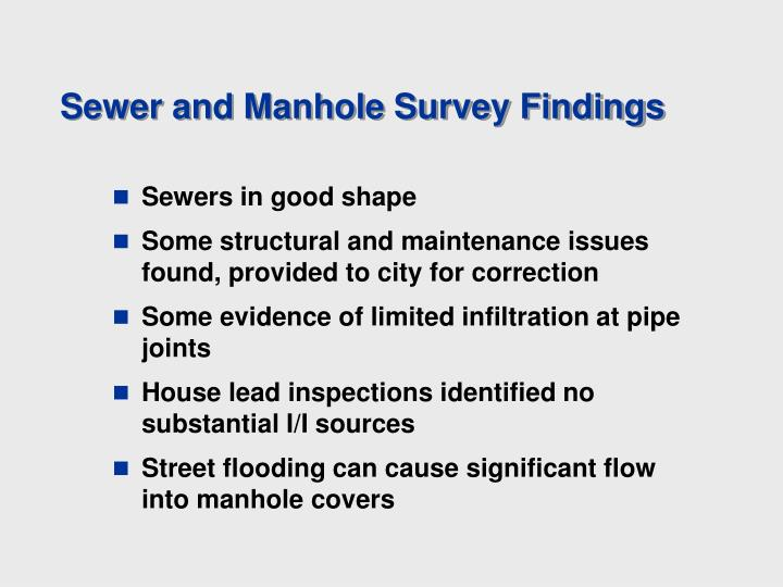 Sewer and Manhole Survey Findings
