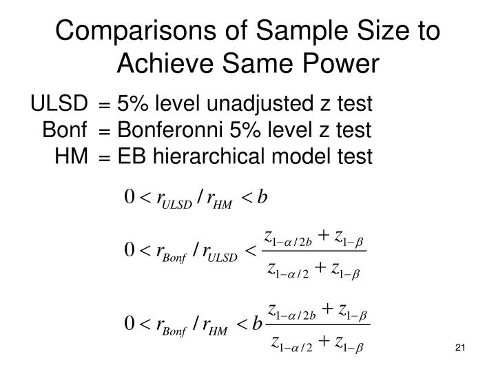 Comparisons of Sample Size to Achieve Same Power