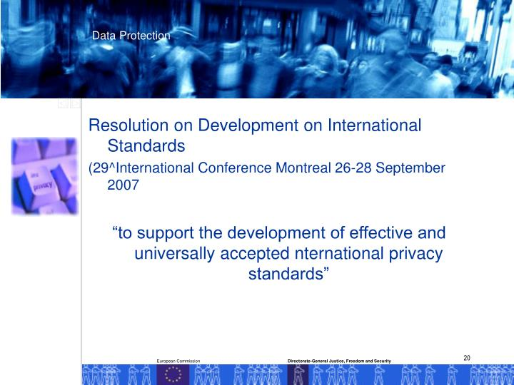 Resolution on Development on International Standards