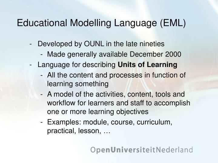 Educational Modelling Language (EML)