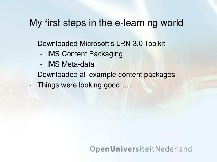 My first steps in the e-learning world