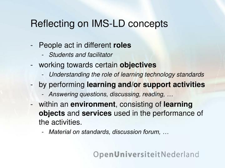Reflecting on IMS-LD concepts
