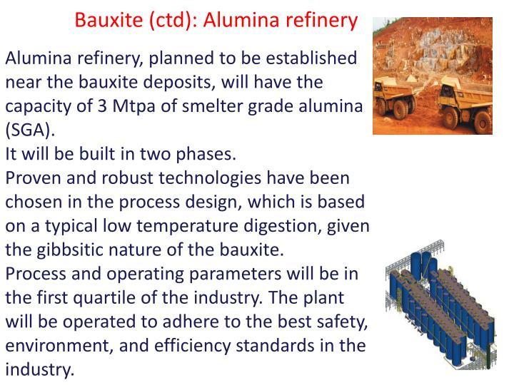 Bauxite (ctd): Alumina refinery