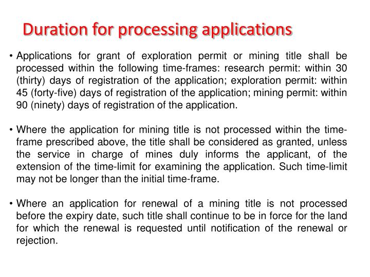 Duration for processing applications