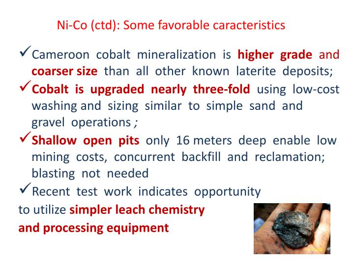 Ni-Co (ctd): Some favorable caracteristics