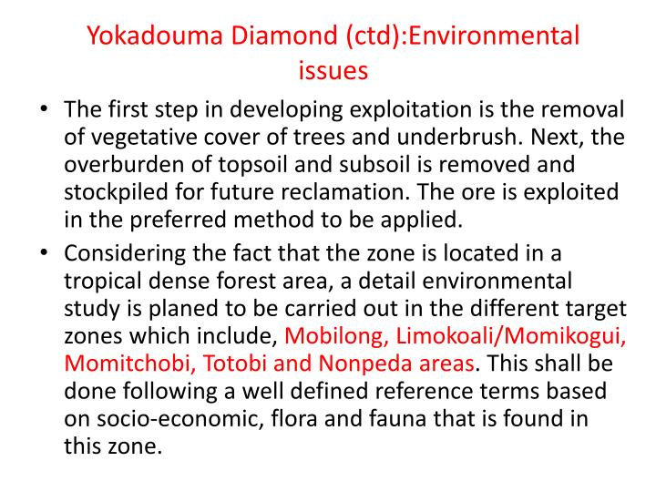 Yokadouma Diamond (ctd):Environmental issues