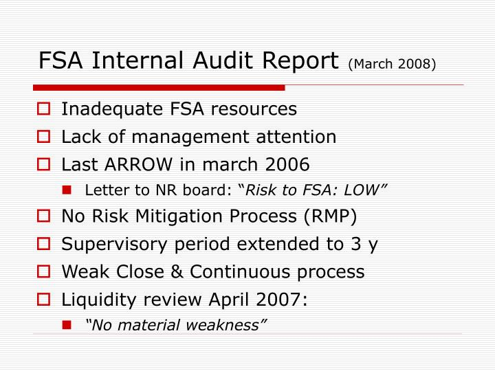 FSA Internal Audit Report