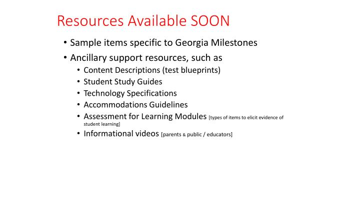 Resources Available SOON