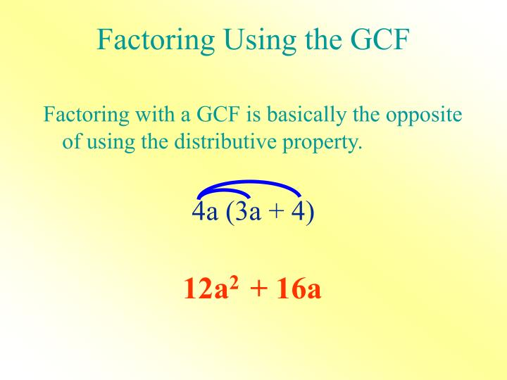 Factoring Using the GCF