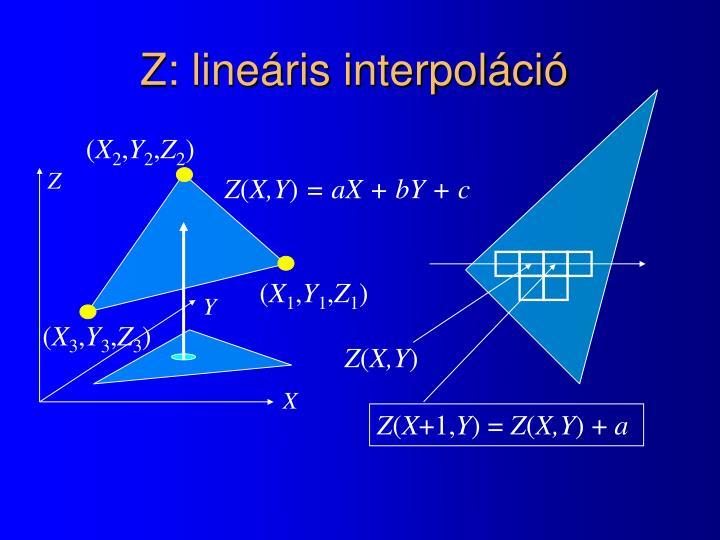Z: lineáris interpoláció