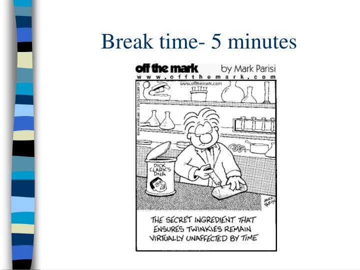 Break time- 5 minutes