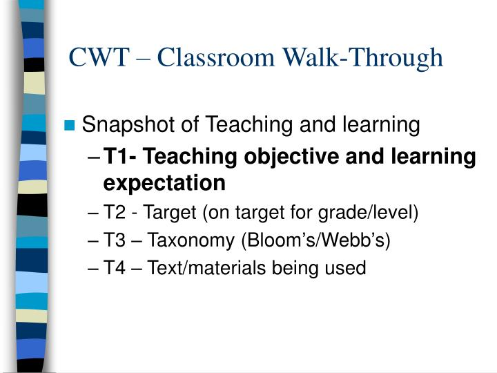 CWT – Classroom Walk-Through