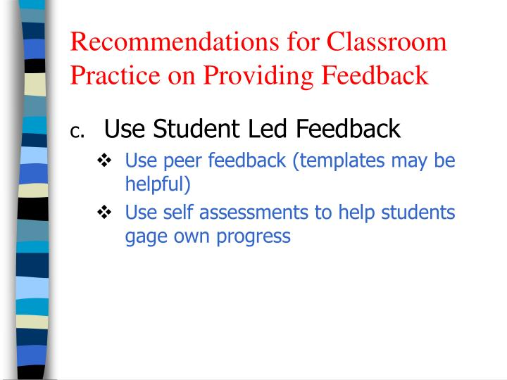 Recommendations for Classroom Practice on Providing Feedback