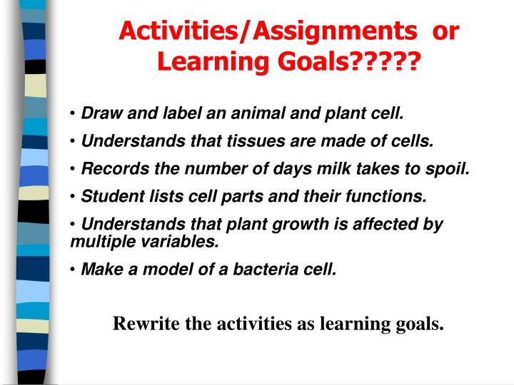 Activities/Assignments  or  Learning Goals?????