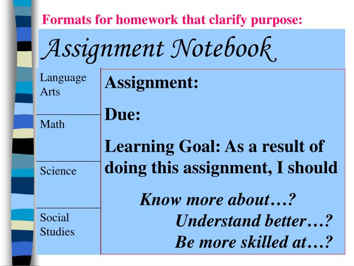 Formats for homework that clarify purpose: