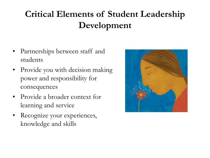 Critical elements of student leadership development