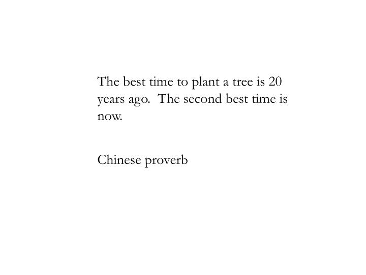 The best time to plant a tree is 20 years ago.  The second best time is now.