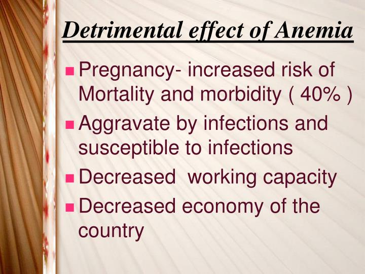 Detrimental effect of Anemia