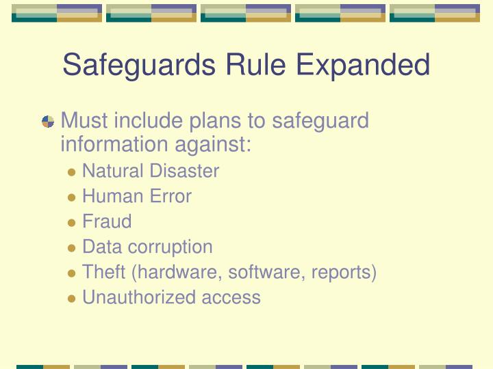 Safeguards Rule Expanded