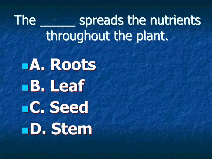 The _____ spreads the nutrients throughout the plant.