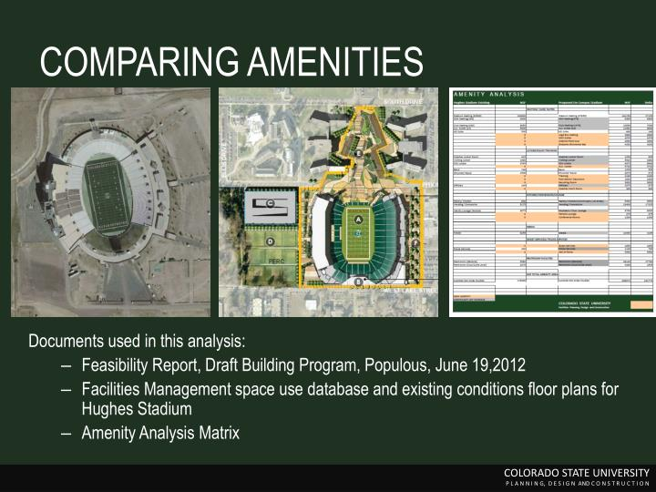 COMPARING AMENITIES