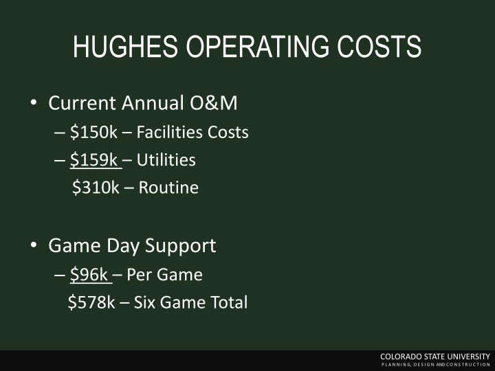 HUGHES OPERATING COSTS