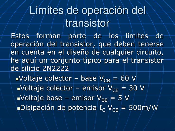 Límites de operación del transistor