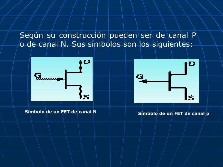 Según su construcción pueden ser de canal P o de canal N. Sus símbolos son los siguientes: