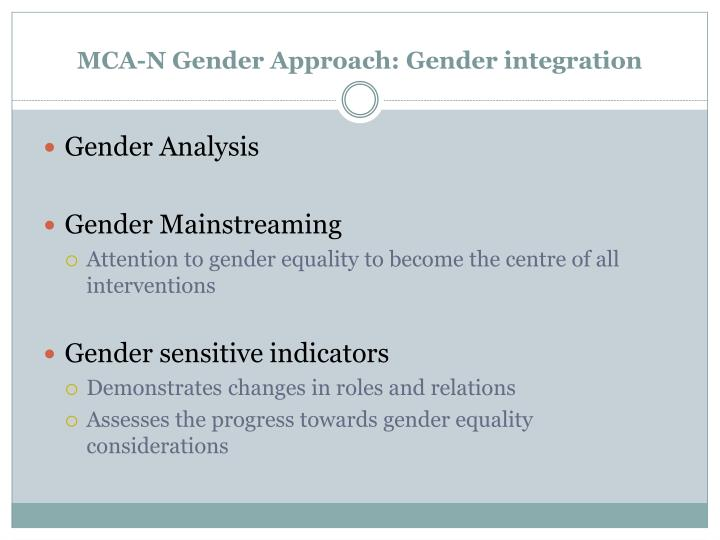 MCA-N Gender Approach: Gender