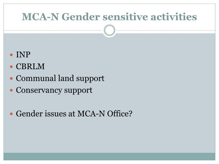 MCA-N Gender sensitive activities
