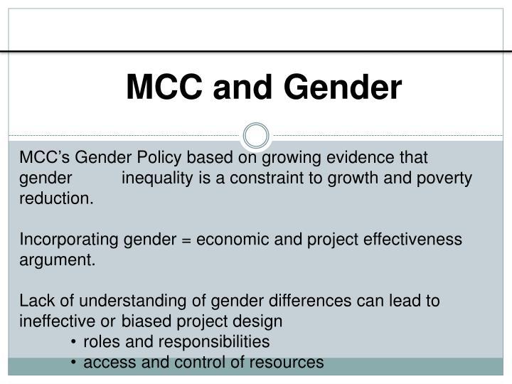 MCC and Gender
