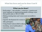 what has been and can be done cont d2