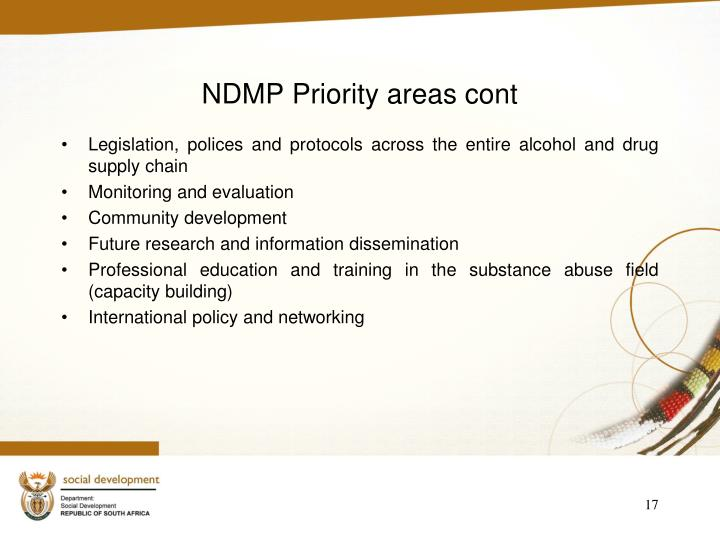 NDMP Priority areas cont