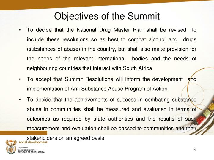 Objectives of the summit
