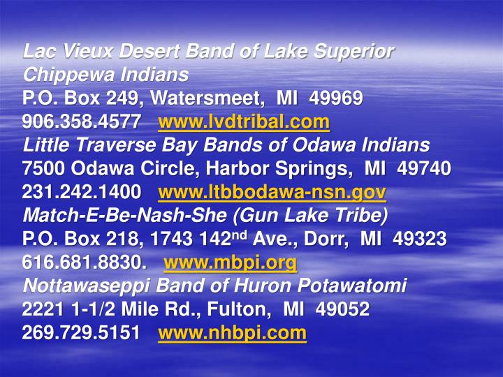Lac Vieux Desert Band of Lake Superior Chippewa Indians