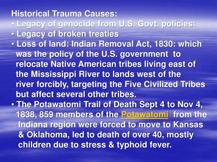 Historical Trauma Causes: