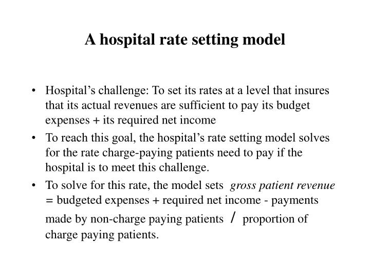 A hospital rate setting model