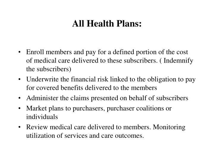 All Health Plans: