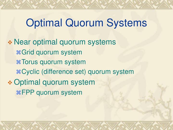 Optimal Quorum Systems
