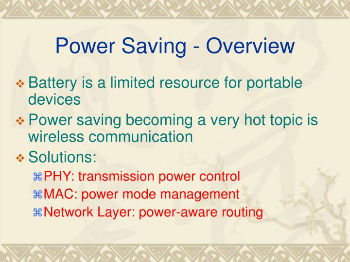 Power Saving - Overview